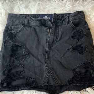 hollister black jean skirt